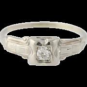 Art Deco Diamond Engagement Ring - 14k White Gold Round Solitaire 0.12ctw