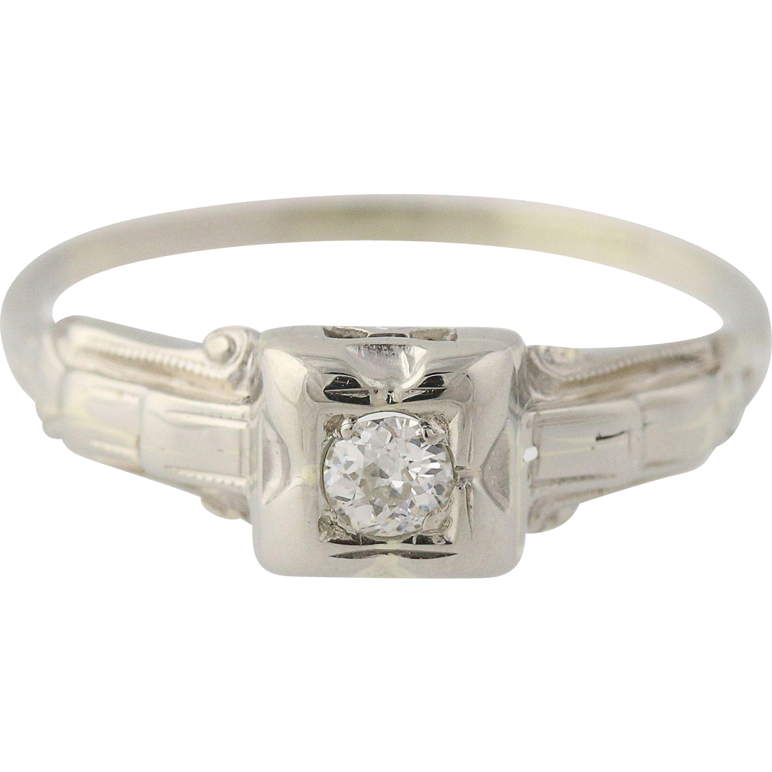 Art Deco Diamond Engagement Ring - 14k White Gold Round Solitaire 0.12ctw