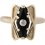 Vintage Onyx Ring - 14k Yellow & White Gold Diamond Accent Size 6 Genuine .02ctw