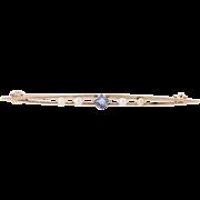 Vintage Sapphire Pearl Brooch 10k Yellow Gold Fine Estate Blue Princess 0.18ctw