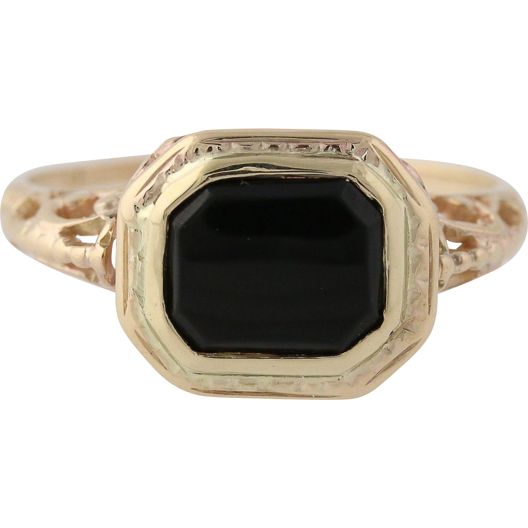 Vintage Onyx Ring - 10k Yellow Gold Women's Scroll Work Black Stone Solitaire Q2532