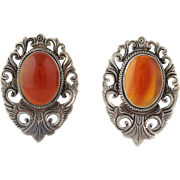 Vintage Carnelian Earrings Sterling Silver Scroll Work Chunky Pierced Red Orange