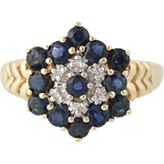 Synthetic Sapphire & Diamond Cocktail Ring- 10k Yellow & White Gold Fine 1.85ctw