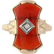 Art Deco Carnelian & Diamond Ring - 10k Yellow & White Gold 4 1/4 Genuine .02ctw