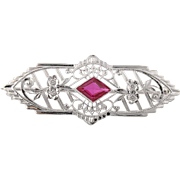 Vintage Ornate Floral Brooch - 10k White Gold Filigree Synthetic Ruby Pin Q2625
