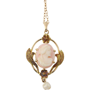 "Vintage Carved Shell Cameo Pendant & Chain Necklace 15.5"" Pearl"