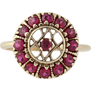 Vintage Synthetic Ruby Cocktail Ring - 14k Yellow Gold Women's 9 Fine 1.56ctw