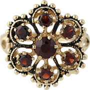 Vintage Garnet Cluster Cocktail Ring - 14k Yellow Gold Flower Genuine .90ctw