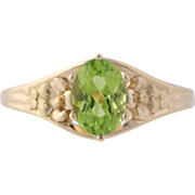 Peridot Solitaire Cocktail Ring - 14k Yellow Gold Oval August Birthstone .90ct