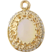 Opal & Seed Pearl Pendant - 14k Yellow Gold October Birthstone Genuine .70ctw