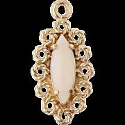 Vintage Opal Pendant – 14k Yellow Gold Genuine 0.54ct Open Halo