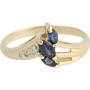 Sapphire & Diamond Ring - 14k Yellow Gold Women's Size 6 3/4 - 7 Genuine .32ctw