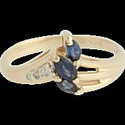 Sapphire & Diamond Ring - 14k Yellow Gold Women's Size 6 3/4 - 7 Genuine .32ctw