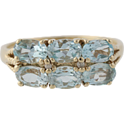 Sky Blue Topaz Cocktail Ring - 10k Yellow Gold Diamond Accents Genuine 3.44ctw