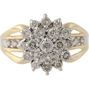 Diamond Cluster Cocktail Ring- 10k Yellow & White Gold Women's 7 Genuine 1.00ctw