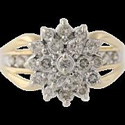 Diamond Cluster Cocktail Ring- 10k Yellow & White Gold Women's 7 Genuine 1.00ctw