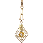 Art Deco Floral Diamond Pendant - 10k Yellow & Green Gold Genuine .02ctw