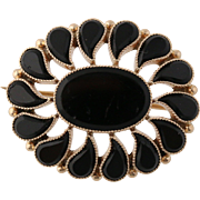 Vintage Onyx Brooch / Pendant - 10k Yellow Gold Floral Fine Women's Jewelry