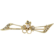 Vintage Diamond & Pearl Bow Brooch - 10k Yellow Gold Mine Cut Genuine .08ctw