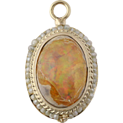 Boulder Opal & Seed Pearl Pendant - 14k Yellow Gold October Gift Fine 3.06ctw