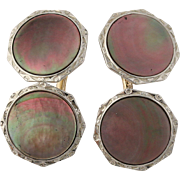 Art Deco Black Mother-of-Pearl Cufflinks - 10k Yellow & White Gold Polished