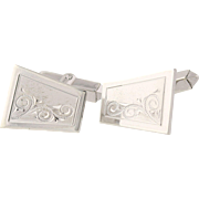 Vintage scroll Work Cuff Links - Sterling Silver Men's Folding Bar Back 925