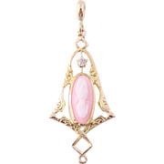 Cameo Pendant - 14k & 10k Yellow Gold Carved Pink Shell Diamond Vintage Women's