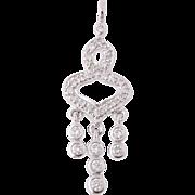 Diamond Drop Pendant - 14k White Gold April Birthstone .50ctw