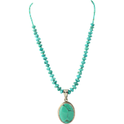 Vintage Turquoise Necklace & Pendant Set - Sterling Silver Beaded Strand 15.75""