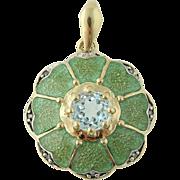 Sky Blue Topaz & Diamond Pendant - 10k Gold Enamel Flower Blossom .58ctw
