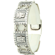"Egyptian Tribal Bracelet 7 1/4"" - 900 Silver Figural Chunky Vintage"