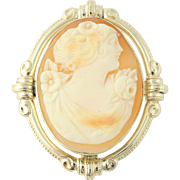 Vintage Carved Shell Cameo Brooch / Pendant - 10k Yellow Gold