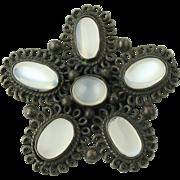 Vintage Moonstone Brooch - Sterling Silver Ornate Design