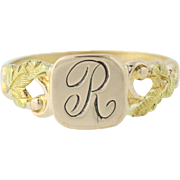 Engraved Baby Ring - Yellow Gold Filled Initial R Floral Band Signet Vintage