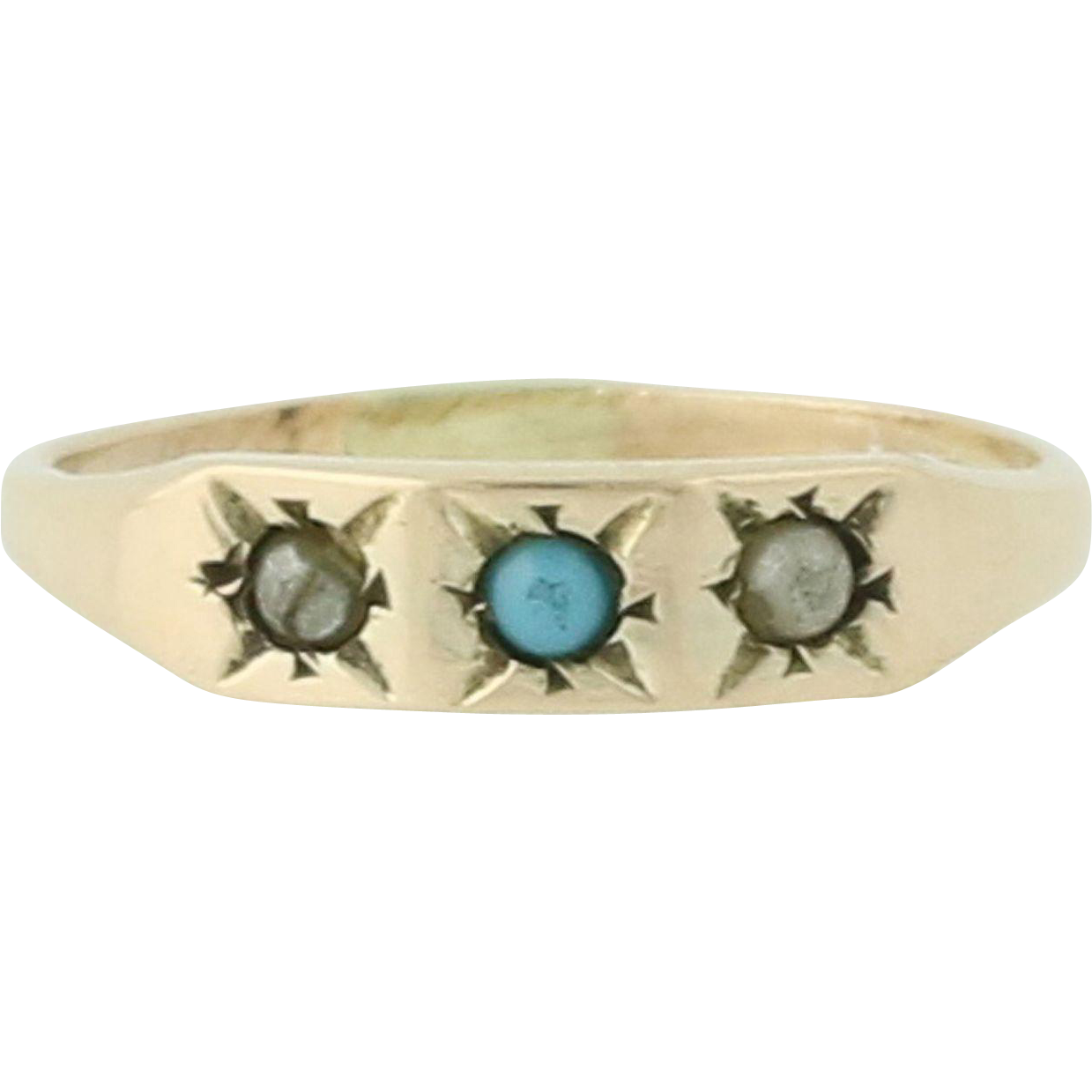 Victorian Baby Ring - 10K Yellow Gold Band Turquoise Pearl Antique 3-Stone