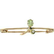 Edwardian Green Glass & Seed Pearl Pin - 10k Yellow Gold 1900s - 1910s