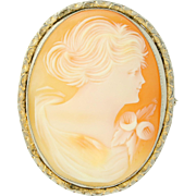 Vintage Carved Shell Cameo Brooch / Pendant - Gold Toned Convertible Pin