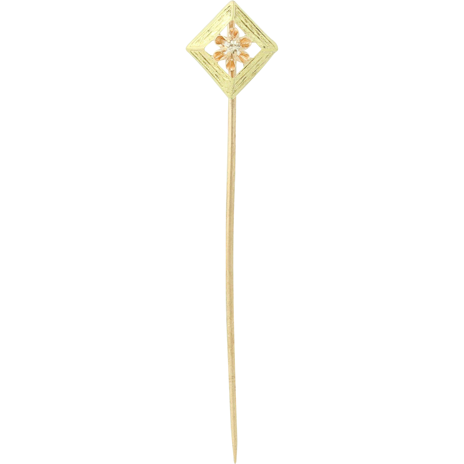 Vintage Diamond Flower Stickpin - 10k Yellow Rose Gold Floral Women's
