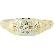 Art Deco Diamond Engagement Ring - 14k Yellow & White Gold Mine Cut .04ct