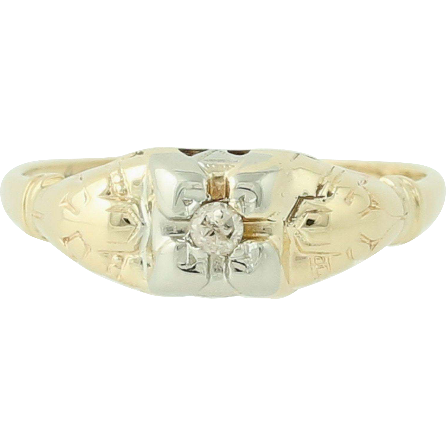 Art Deco Diamond Engagement Ring - 14k Yellow & White Gold Mine Cut .04ct