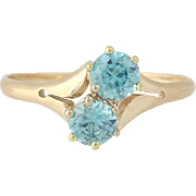 Art Deco Blue Zircon Ring - 10k Yellow Gold Vintage Two-Stone Bypass 1.04ctw
