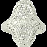 Vintage Diamond Ring - 14k White Gold Filigree Solitaire .14ct