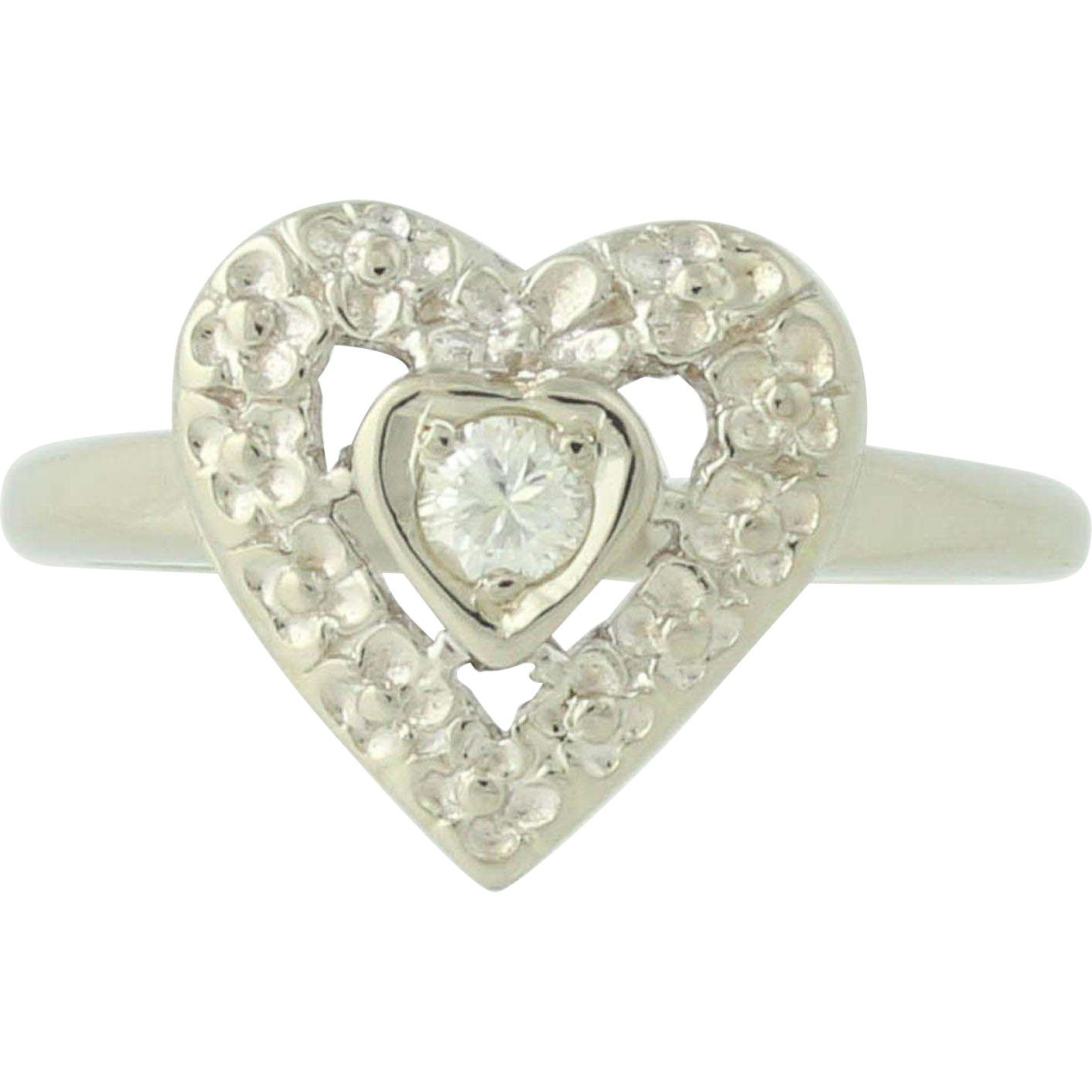 Vintage Diamond Heart Ring - 14k White Gold Solitaire 11ct