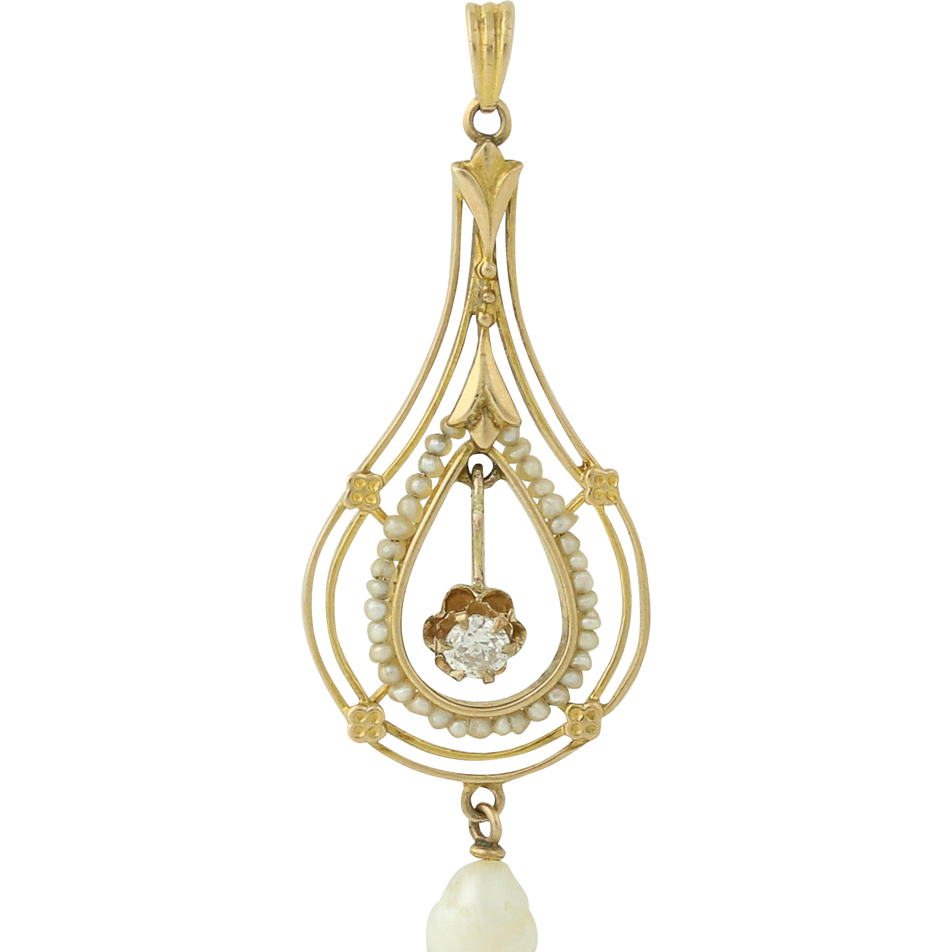 Edwardian Diamond & Pearl Lavalier Pendant - 10k Yellow Gold Vintage .12ct