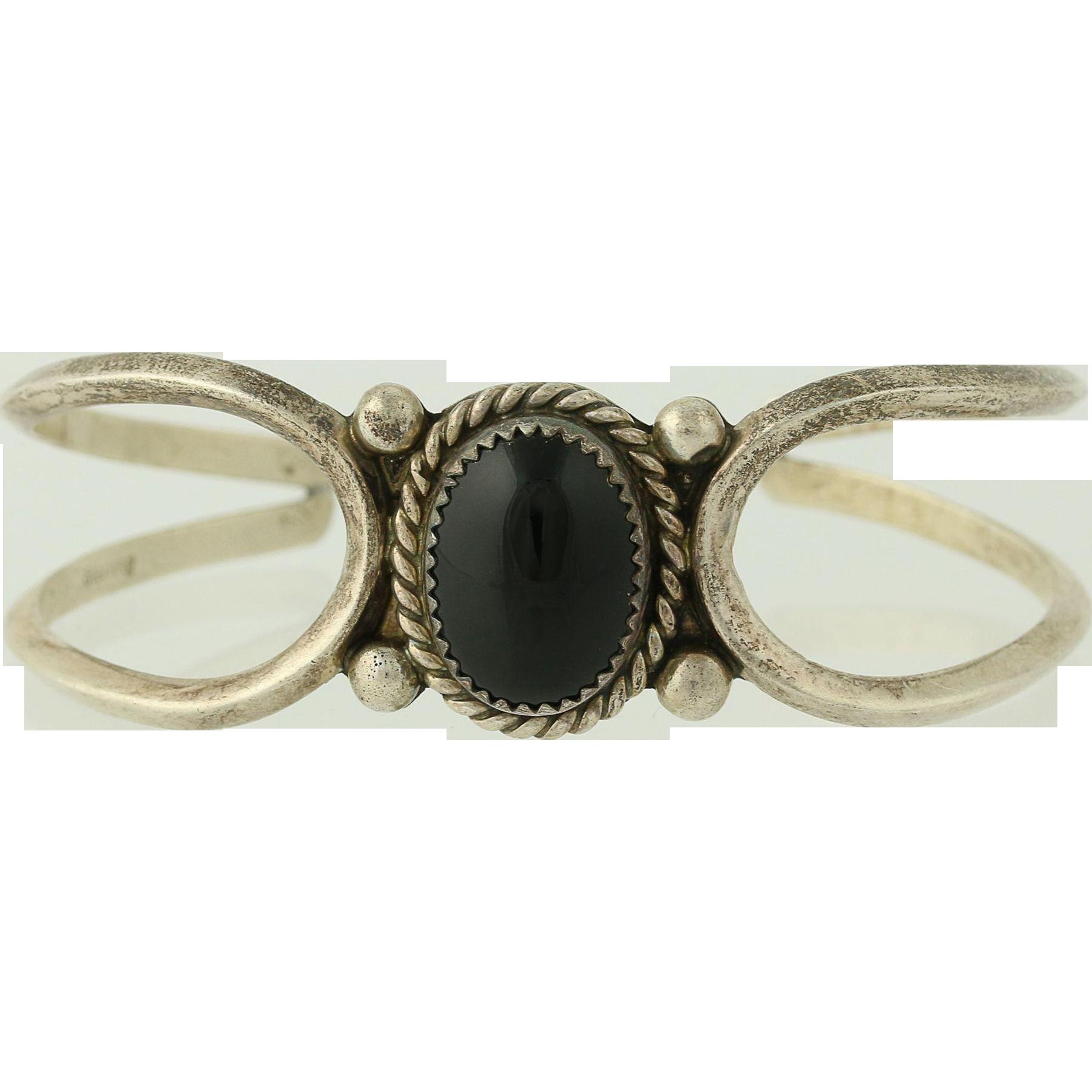 """Onyx Native American Cuff Bracelet 6 3/4"""" - Sterling Silver Women's"""