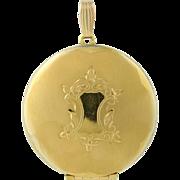 Vintage Locket Pendant - 12k Gold Filled Engravable Floral Round Fob