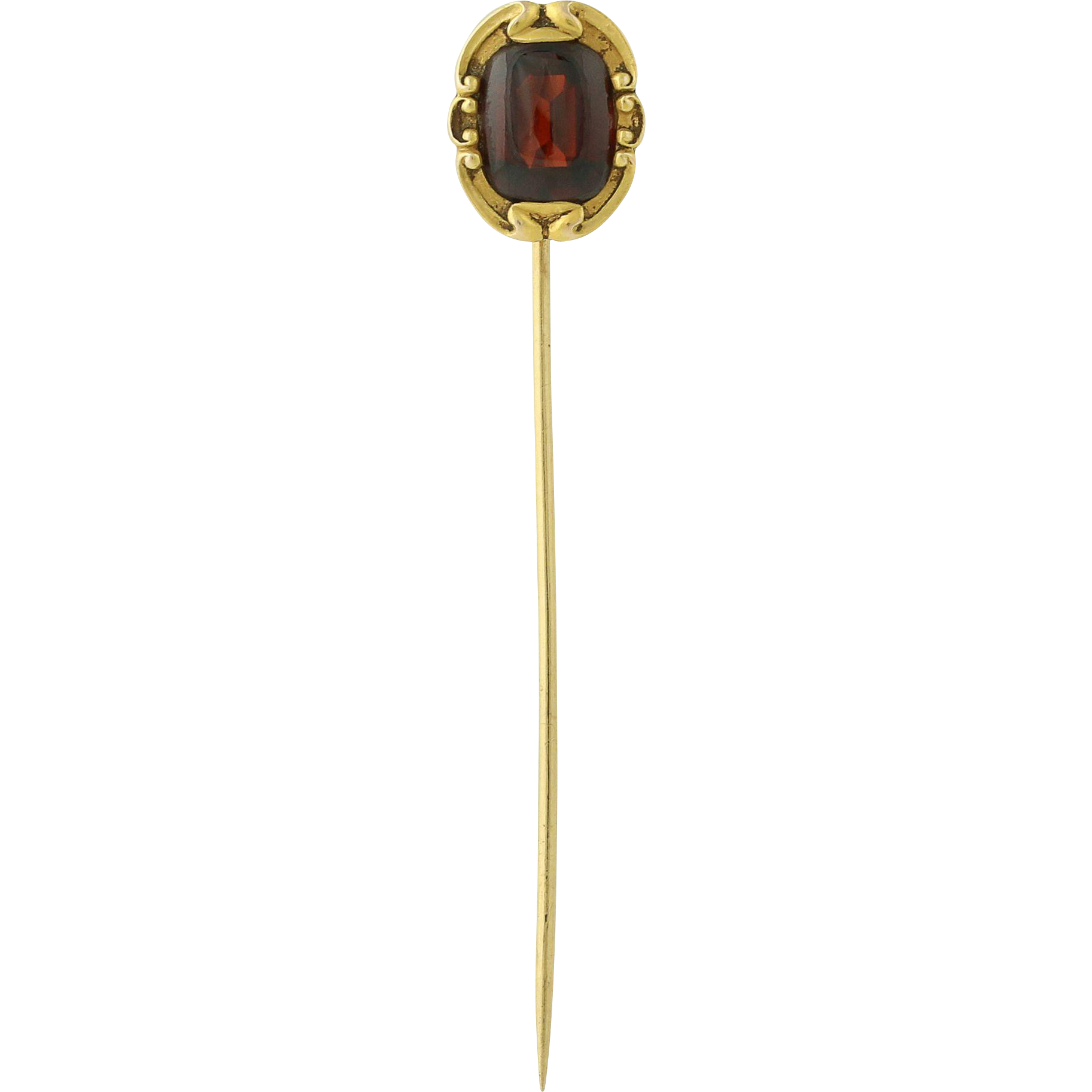 Edwardian Era Garnet Stickpin - 14k Yellow Gold Vintage January Birthstone