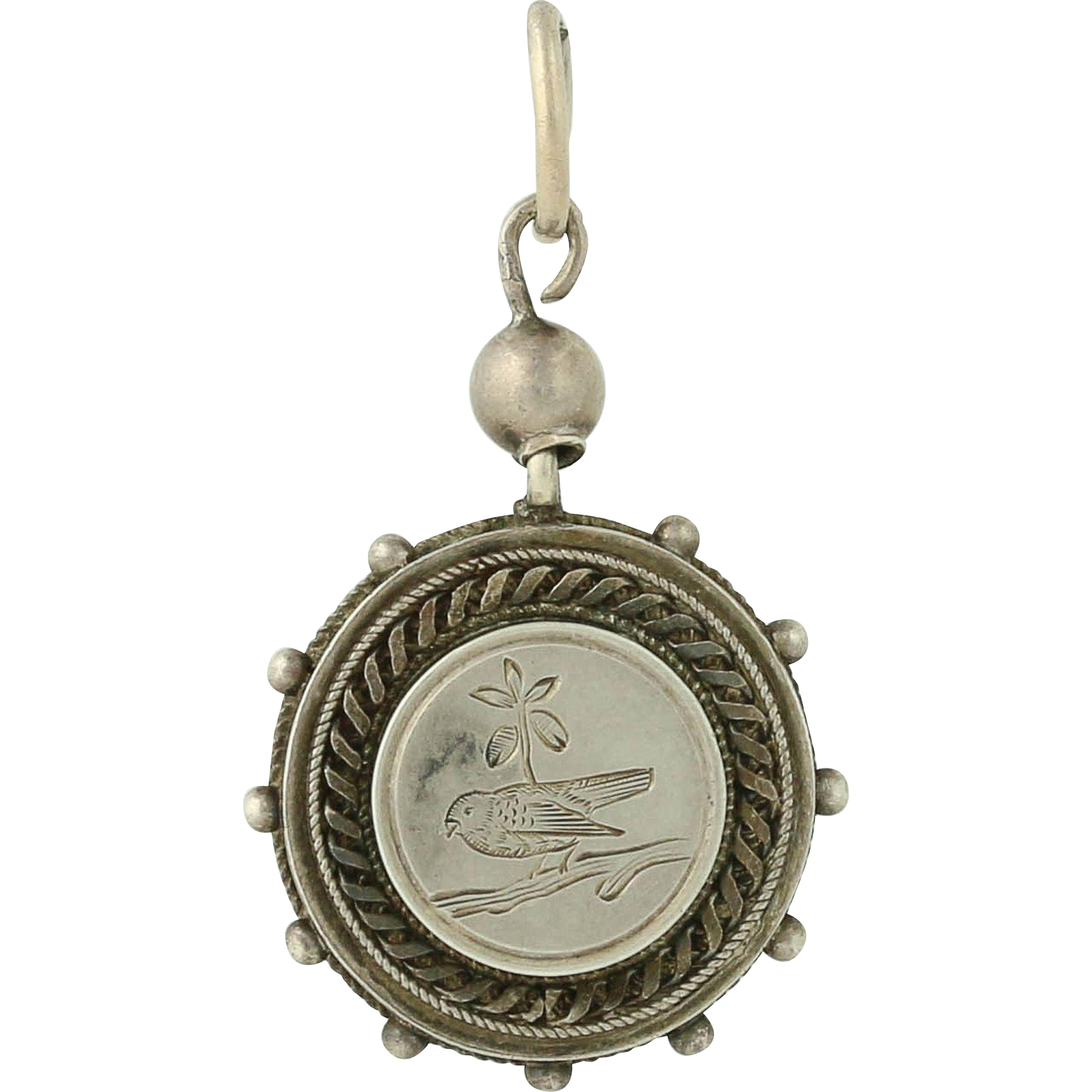 Victorian Bird Charm - Antique Sterling Silver Nature Pendant Keepsake