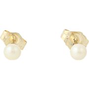 Cultured Pearl Stud Earrings 14k Yellow Gold 3.5mm Solitaire Pierced Birthstone