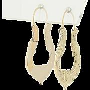 Edwardian Era Hoop Earrings - 14k Yellow Gold Vintage Jewelry Pierced